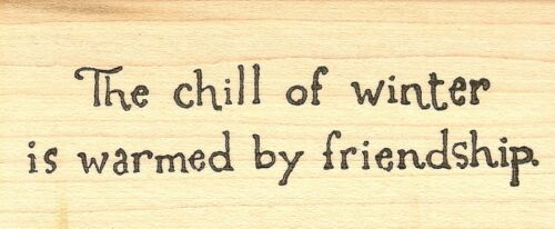 D7772 The Chill Of Winter Text NEW Wood Mounted Rubber Stamp NORTHWOODS