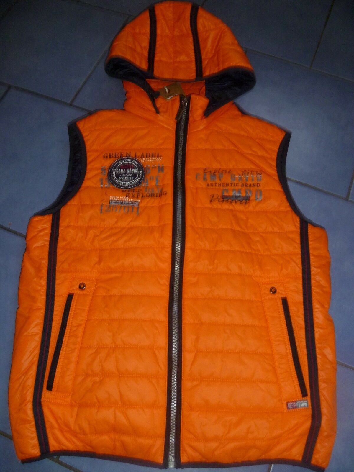 TOP NEU Herren Männer Outdoor Weste Steppweste mit Kapuze Kapuze Kapuze Orange CAMP DAVID Gr.M 428463