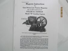 1923 1 12 Amp 2 12hp N Fuller Amp Johnson Gas Engine Magneto Instructions Manual