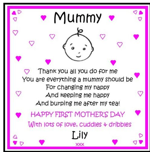 Personalised Coaster Mummy Mum Nanny First 1st Mothers Day Gift from Baby