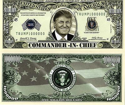 Donald Trump 2016  Presidential 45th President Million Dollar Bills-MONEY-I2 5