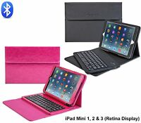 Bluetooth Keyboard case for Apple iPad Mini Leather Case Cover Removable