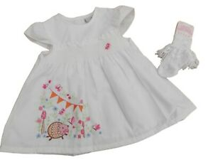 BNWT  Baby girls hedgehog summer white  dress outfit clothes 12m 18 m 24 mhs