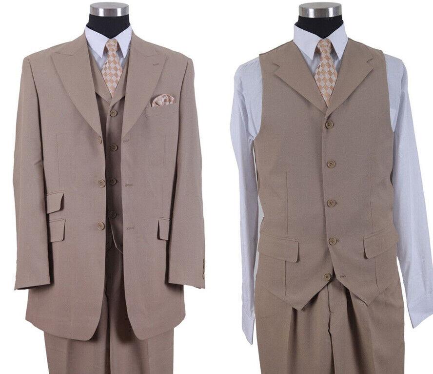 "Men/'s 3 Pc Poly Poplin  Fashion 3 Button Suit Two Side Vents Length 35/""  M905-V"