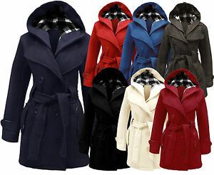 New Womens Ladies Girls Belted Fleece Coat Hooded Plus Size Jacket