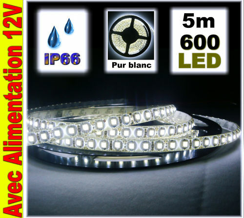A819 5c  Weiß led strip waterproof 120led m 5m 600led + dimmer + power supply