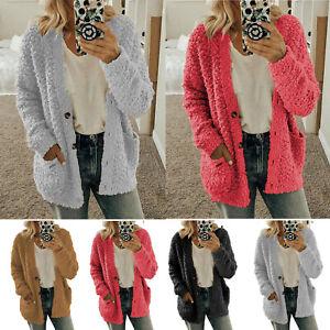 Women-039-s-Oversized-Long-Sleeve-Fluffy-Fleece-Cardigan-Sweater-Pocket-Coat-Jacket