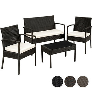 Détails sur Beau Ensemble salon de jardin en résine tressée poly rotin  canapé table chaises
