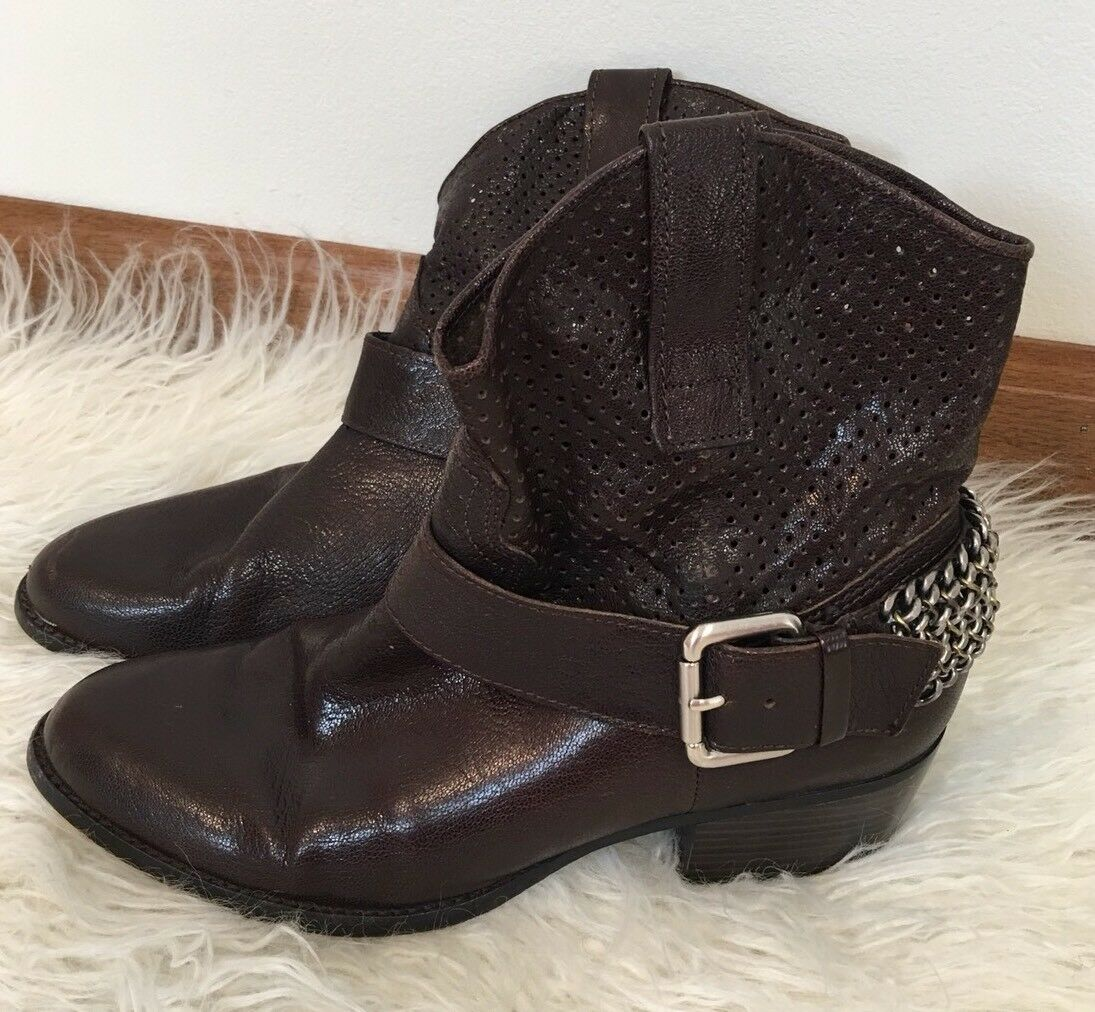 BCBG Womens Brown LEATHER Western Cowgirl CHAIN Detail Booties Size 7.5