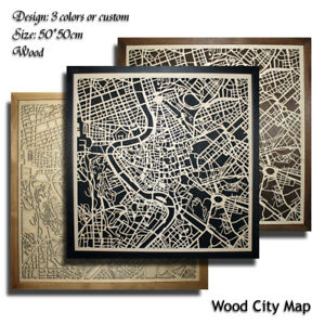 Wood-City-Map-Rome-Italy-Decor-Picture-Town-Village-Laser-Cut-Wall-Art-50x50