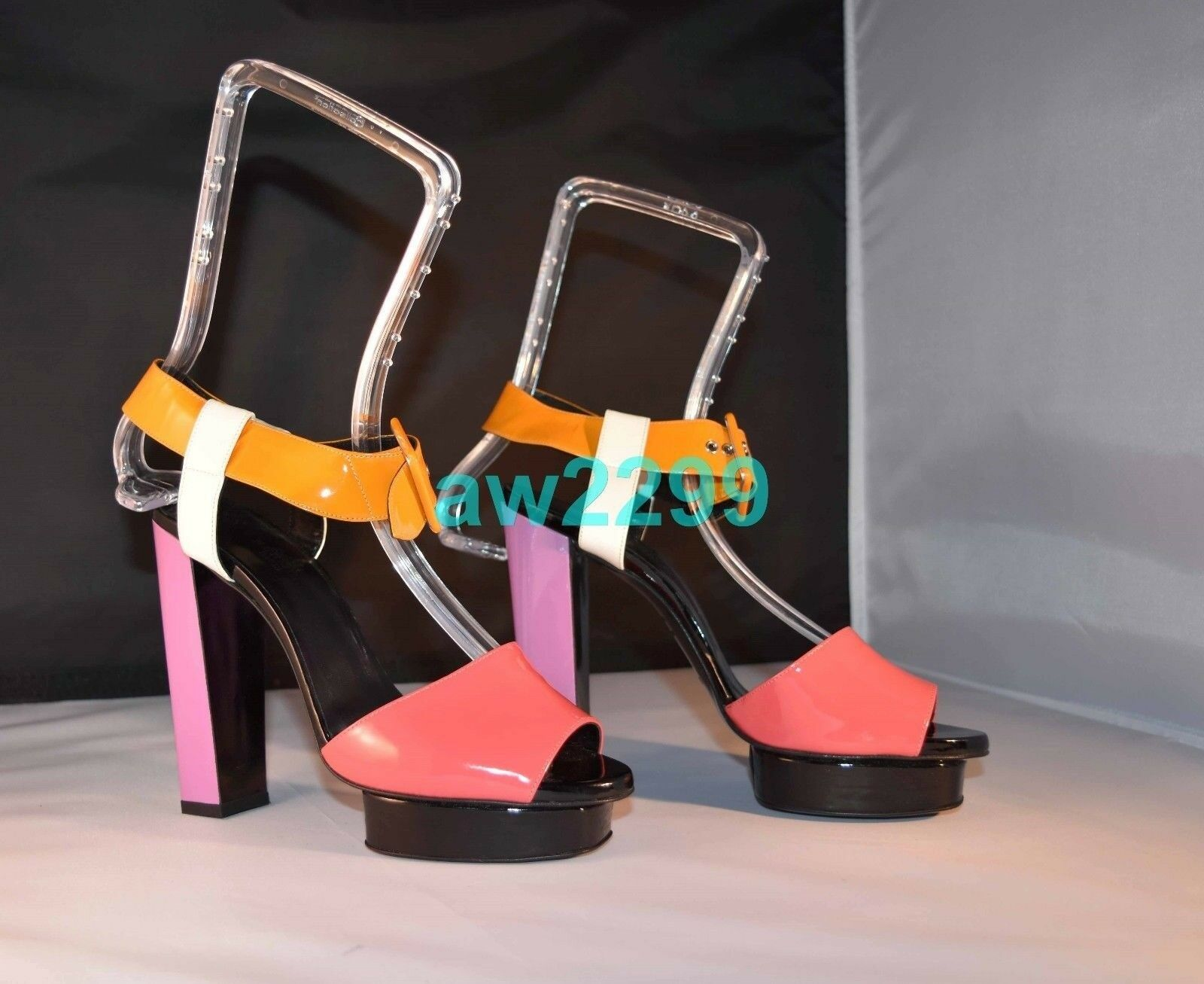 NEW AUTHENTIC RARE HERMES  OPEN TOES SANDALS SHOES HEELS 38 MULTI COLOR