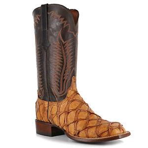 Lucchese cl1012 w8s mens cognac pirarucu fish leather for Pirarucu fish boots