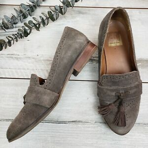 Dolce-Vita-Size-6-Suede-Leather-Gray-Flats-Loafers-Fringe-Womens-010