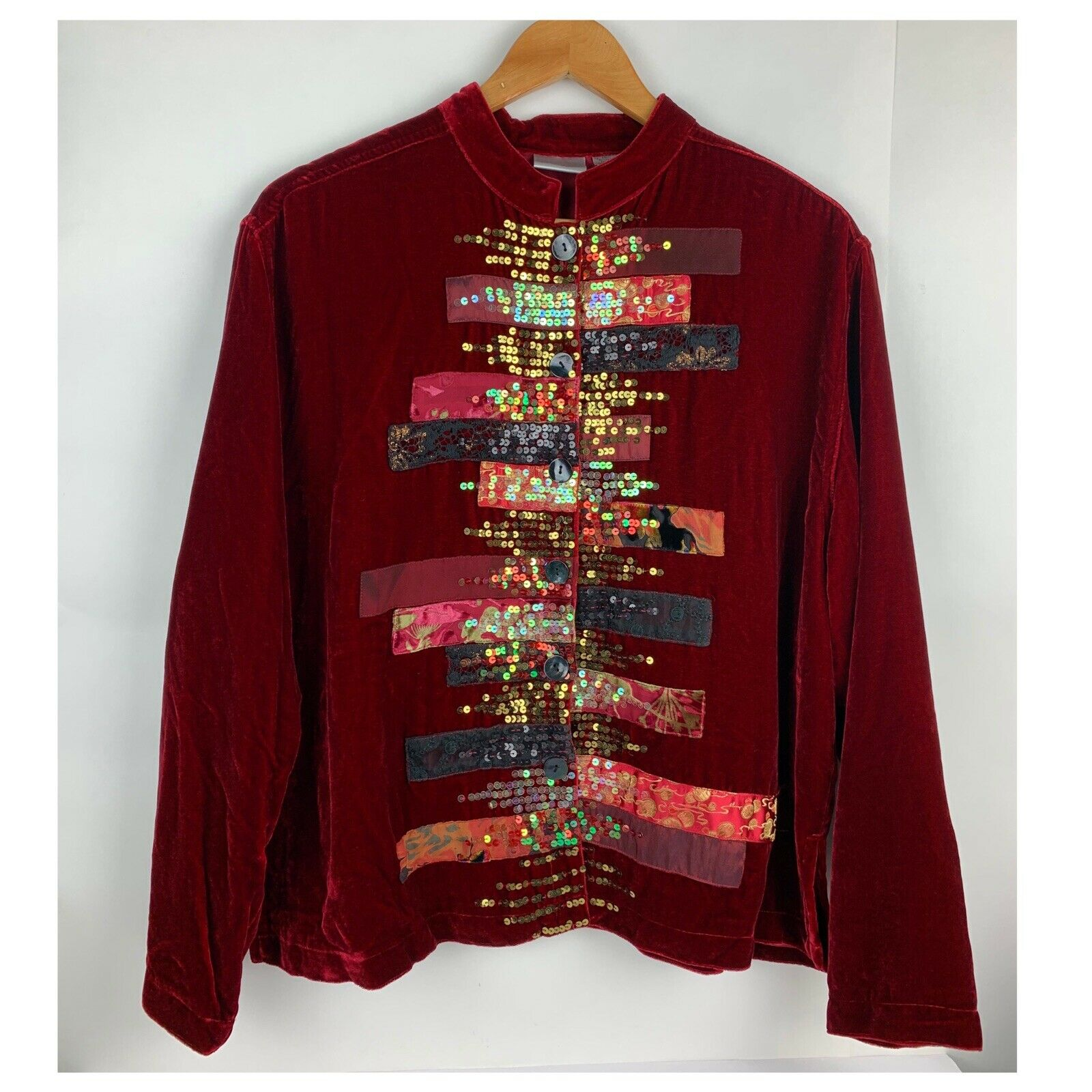 Chicos Womens Button Jacket Red Velvet Velour Ope… - image 1