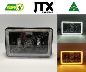 "JTX, 1 Pair, Black LED Headlights, 4x6"", White Halo, Flashes Amber"