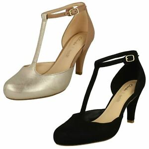 8531c0343a2a Ladies Clarks Dalia Tulip Black Suede Or Nude Combi T-Bar Heels