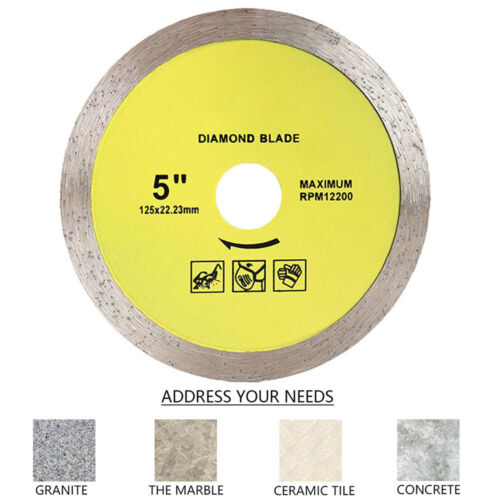 """Diamond Saw Blade 5/""""125mm Continuous Rim for Cutting Tile Stone,Porcelain 1Pack"""