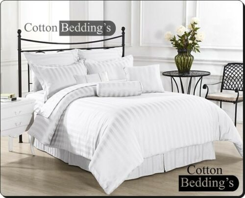 800 1000 TC 100/% Egyptian Cotton US Size Sheet//Duvet Set in Hotel White Striped