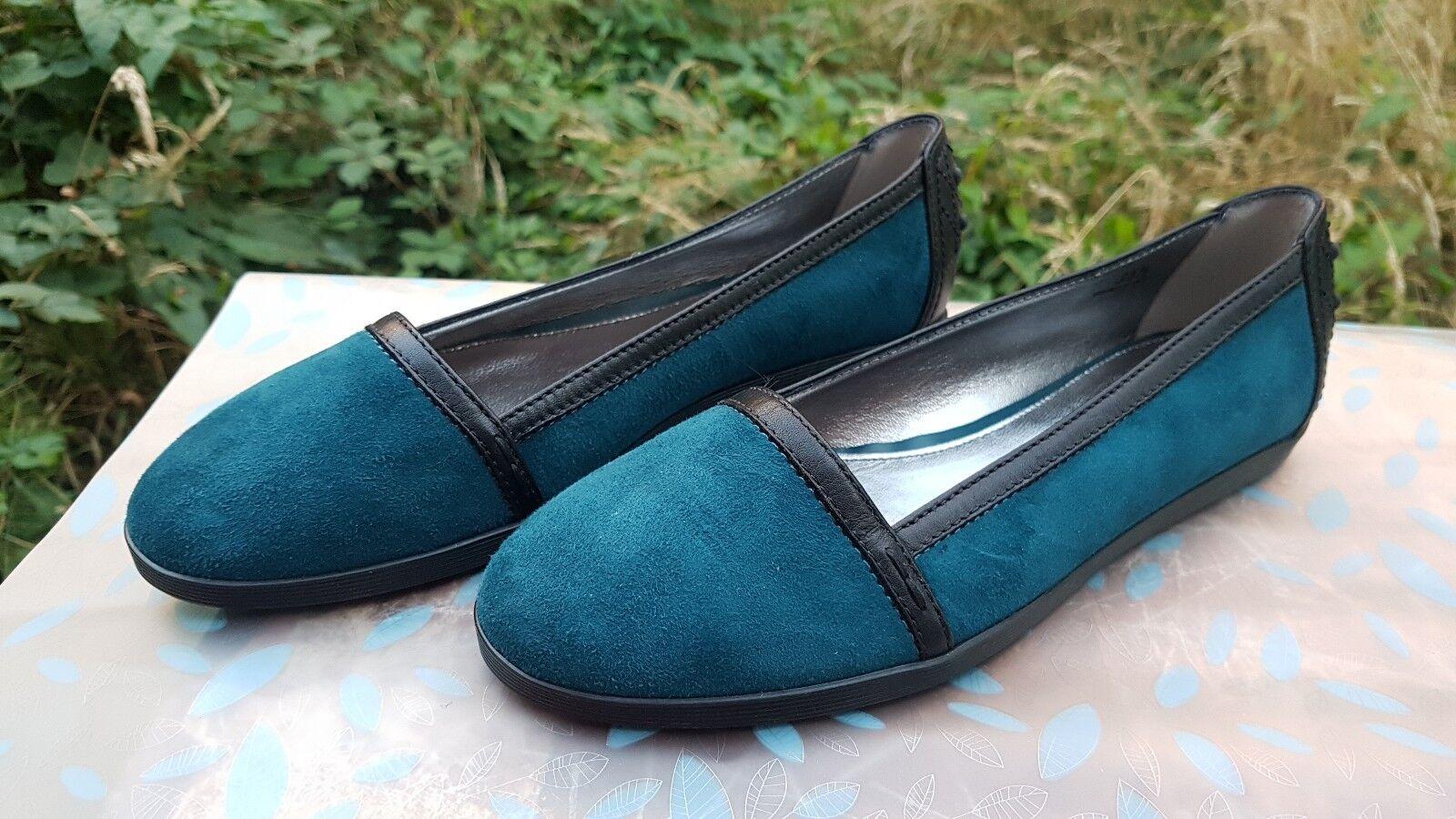 Tods Womens Flats Suede & Leather Petrol bluee & Black Black Black UK 3.5 EUR 35.5 Italian 864e66