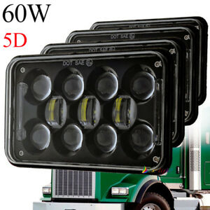 dot approved 60w 4x6 led cree hi lo beam headlight for kenworth