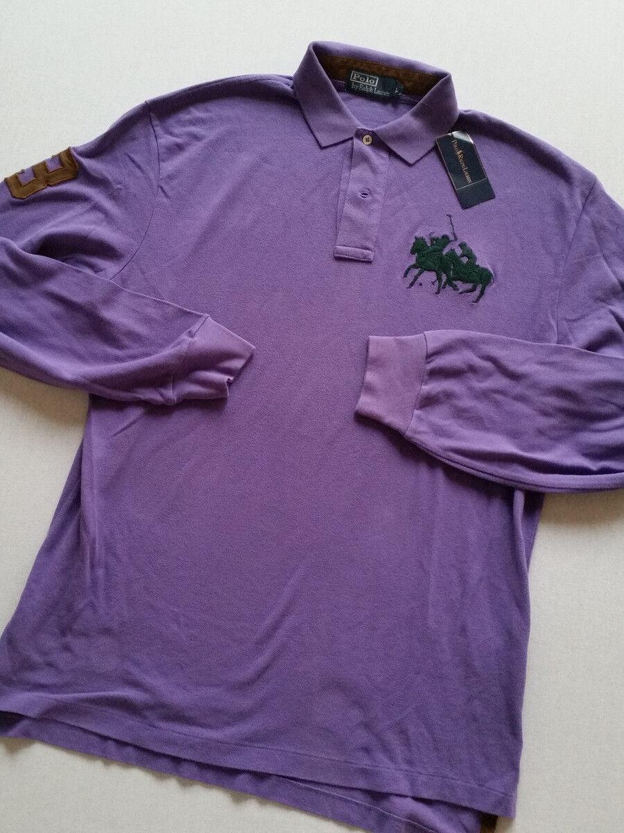 RALPH LAUREN Polo hommeches longues American violet 3  taille L, XL-XXL  Nouveau