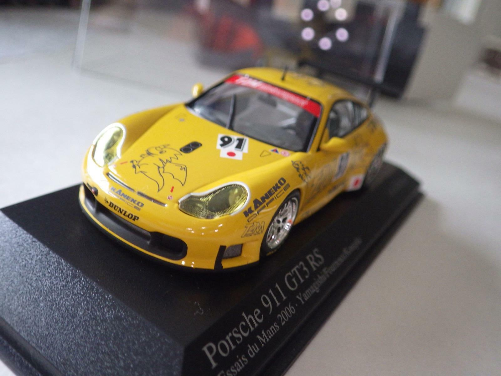 Paul's Model Art giallo Porsche 911 GT3 RS T2M Racing Essais Du Mans 2006 1 43