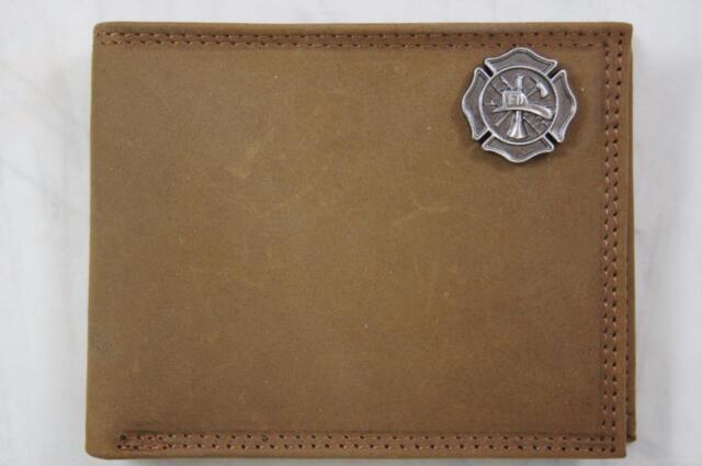 ZEP PRO MALTESE CROSS Fireman Crazy Horse Leather bifold Wallet firefighter
