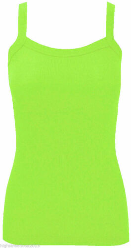 SHIRT PLUS SIZES 8-14 LADIES WOMEN PLAIN RIB STRETCH STRAP TOP RIBBED VEST T