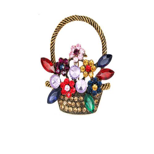 Female Colorful Flower Basket Brooch Alloy Faux Diamond Pin Jewelry Gift Z