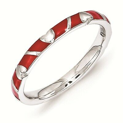 Sterling Silver Stackable Ring 2.50 mm Red Enamel Heart Ring, QSK1519