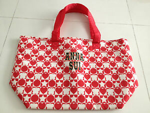 Anna-SUI-Reversible-tote-shopping-bag-super-light-red-black-cute-NEW-GWP