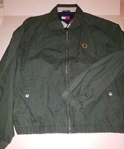 Vintage-Tommy-Hilfiger-90s-Green-Harrington-FULL-Zip-Jacket-Green-Crest-Logo-L