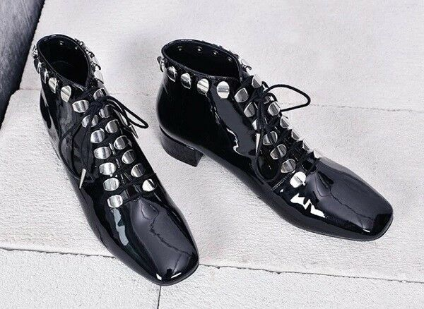 MW009959 - FASHION SILVER STUD LACE UP - ANKLE Stiefel (SIZE 34 - UP 40) 6f4f91