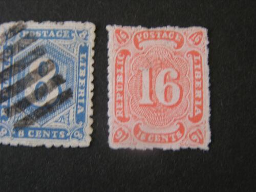 LIBERIA, SCOTT # 22/23(2), COMPLETE SET 1882 NUMERICAL ISSUE USED