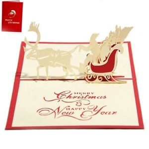 Handgemachte-leere-3D-Pop-Up-Grusskarte-Postkarten-Weihnachten-Hirsch-Auto-Y8C3