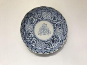 Japanese-Pottery-Plate-Vtg-Hand-Paint-Sometsuke-Signed-Arita-Ware-Flower-q329