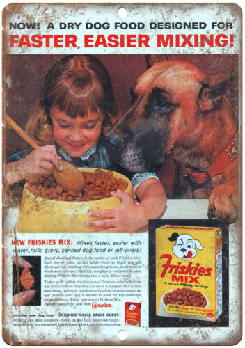 "Great Dane Friskies Dog Food Vintage Ad 10/"" X 7/"" Reproduction Metal Sign N360"
