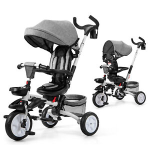 6-In-1 Kids Baby Stroller Tricycle Detachable Learning Toy Bike w/ Canopy Gray