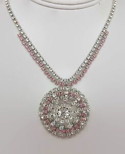 Vintage-Pink-amp-Clear-Rhinestone-Necklace-With-Convertible-Pin-Pendant