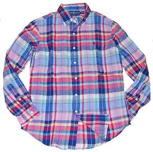 962ccc87b1 Polo Ralph Lauren Mens Custom Fit Linen Dress Casual Shirt Navy Pink ...