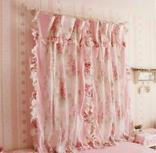 2 PCS Charming Princess Curtain Panel Drapes Pink Flower Cotton with Sheer Voile