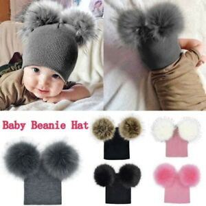 Kids Children Baby Boys Girls Beanie Hat Cap Winter Warm Double Fur ... 8c385554a49a