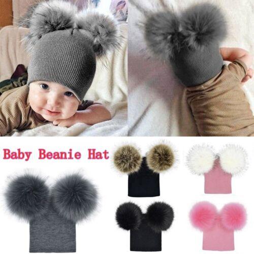 UK Child Baby Boys Girls Beanie Hat Cap Winter Warm Double Fur Pom Bobble Knit