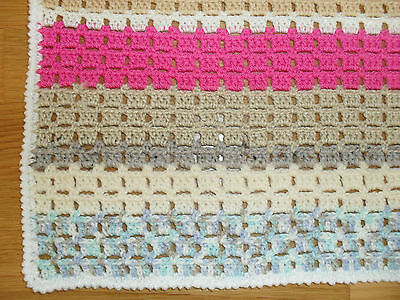 Multicolored Chunky Baby Blanket Acrylic//Wool Crochet Stroller Chunky Blanket