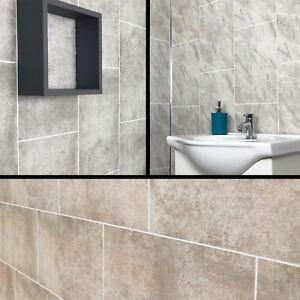 Cutline Grey Marble Tile Effect Bathroom Panels Shower Wet Wall Cladding Pvc Ebay