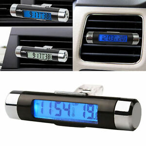 2 In 1 Led Digital Car Clock Thermometer Temperature Auto Lcd