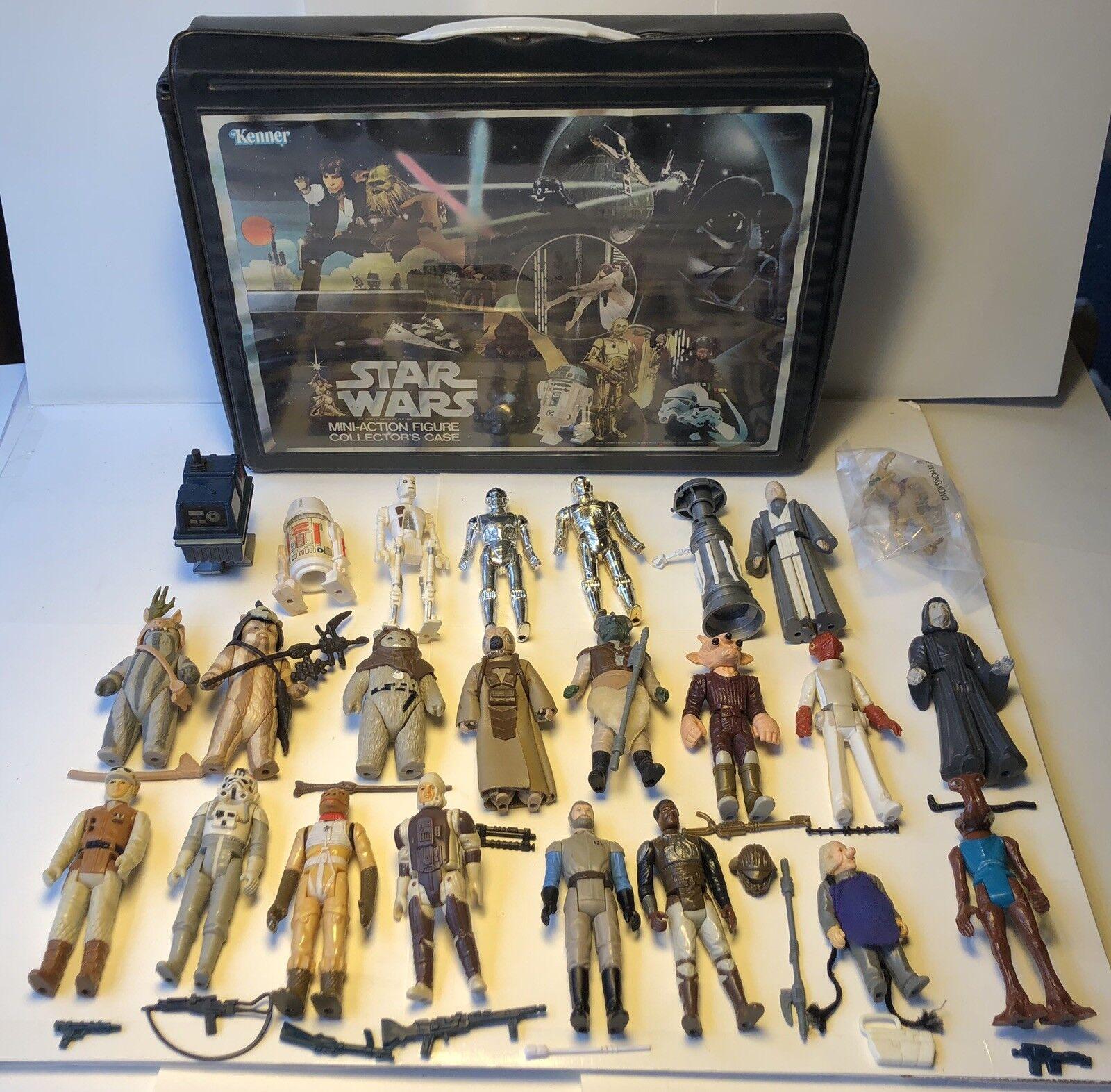 De colección Guerra de las galaxias caso 24 armas Original Completo De Figuras De Acción Accesorios