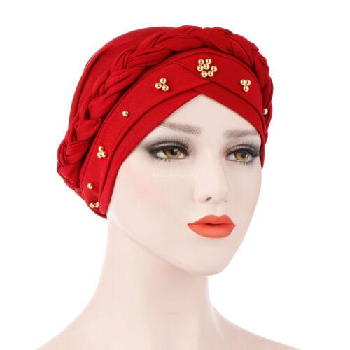 Musulmans de PERLES FLEUR hijab cancer Chapeau chimio Cap Perte De Cheveux Tête Écharpe Turban Wrap