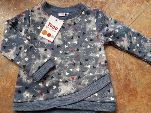 Topo Ragazza Shirt Tunica SWEAT CUORE BLU NUOVO TAGLIA 92 98 104 110 116 122 128 140