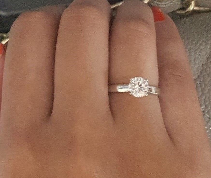 1 CT Brilliant Cut Solitaire Diamond Engagement Ring Solid 14kt White gold